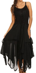 Sakkas Lady Mary Jacquard Corset Style Bodice Lightweight Handkerchief Hem Dress#color_Black