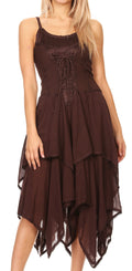 Sakkas Lady Mary Jacquard Corset Style Bodice Lightweight Handkerchief Hem Dress#color_Brown
