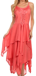 Sakkas Lady Mary Jacquard Corset Style Bodice Lightweight Handkerchief Hem Dress#color_Coral