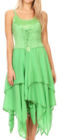 Sakkas Lady Mary Jacquard Corset Style Bodice Lightweight Handkerchief Hem Dress#color_limegreen