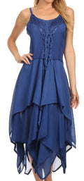 Sakkas Lady Mary Jacquard Corset Style Bodice Lightweight Handkerchief Hem Dress#color_Navy