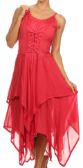 Sakkas Lady Mary Jacquard Corset Style Bodice Lightweight Handkerchief Hem Dress#color_Red