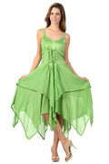 Sakkas Lady Mary Jacquard Corset Style Bodice Lightweight Handkerchief Hem Dress#color_Springgreen