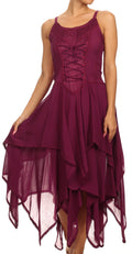 Sakkas Lady Mary Jacquard Corset Style Bodice Lightweight Handkerchief Hem Dress#color_Wine