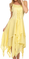 Sakkas Lady Mary Jacquard Corset Style Bodice Lightweight Handkerchief Hem Dress#color_Yellow