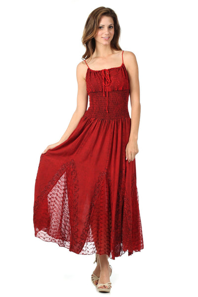 Sakkas Princess Embroidered Crepe Inlay Full Circle Skirt Dress