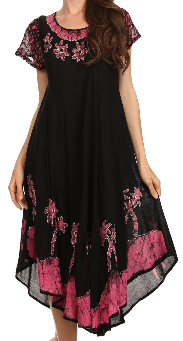 Sakkas Batik Palm Tree Cap Sleeve Caftan Dress / Cover Up#color_Black / Pink