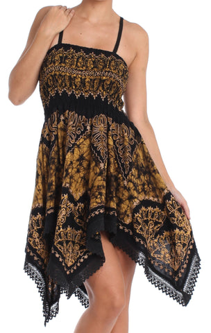 Sakkas Batik Handkerchief Hem Tunic Short Dress