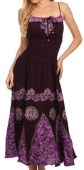 Sakkas Batik Triangle Smocked Empire Waist Dress