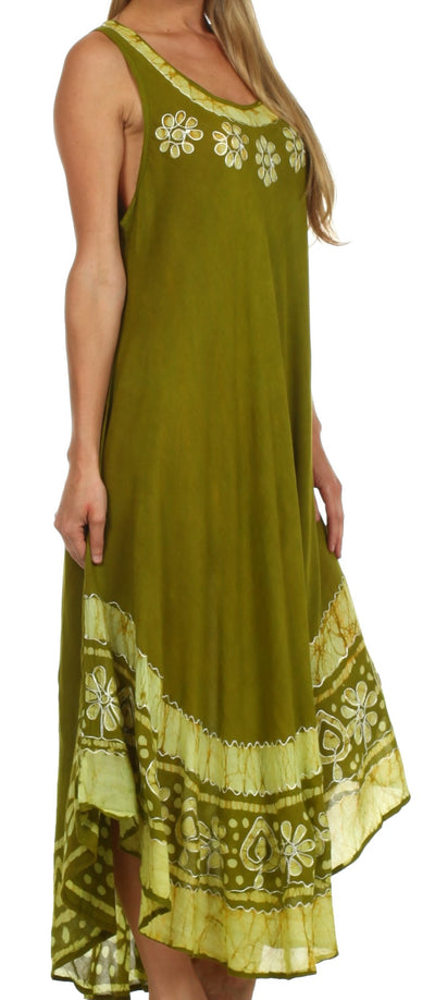 group-Avocado (Sakkas Batik Flower Caftan Tank Dress / Cover Up)