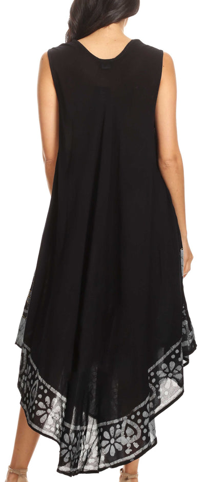 group-Black Grey (Sakkas Batik Flower Caftan Tank Dress / Cover Up)