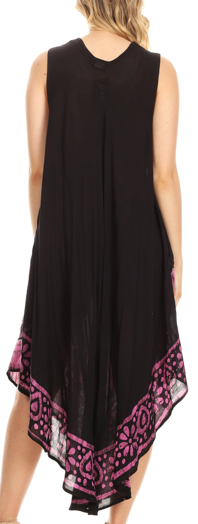group-Black / Pink (Sakkas Batik Flower Caftan Tank Dress / Cover Up)