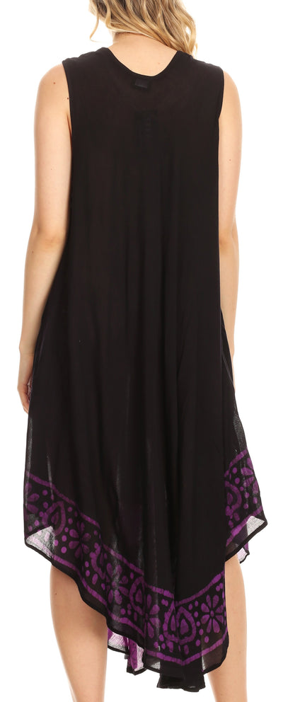 group-Black / Purple (Sakkas Batik Flower Caftan Tank Dress / Cover Up)