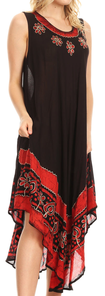 group-Black / Red (Sakkas Batik Flower Caftan Tank Dress / Cover Up)