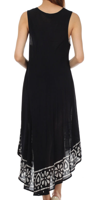 group-Black / White (Sakkas Batik Flower Caftan Tank Dress / Cover Up)