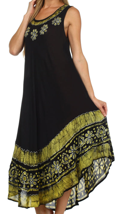 group-Black / Yellow (Sakkas Batik Flower Caftan Tank Dress / Cover Up)