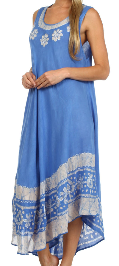 group-Blue / White (Sakkas Batik Flower Caftan Tank Dress / Cover Up)