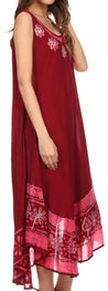 group-Burgandy / White (Sakkas Batik Flower Caftan Tank Dress / Cover Up)