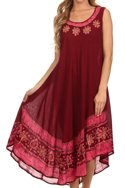 group-Burgandy (Sakkas Batik Flower Caftan Tank Dress / Cover Up)