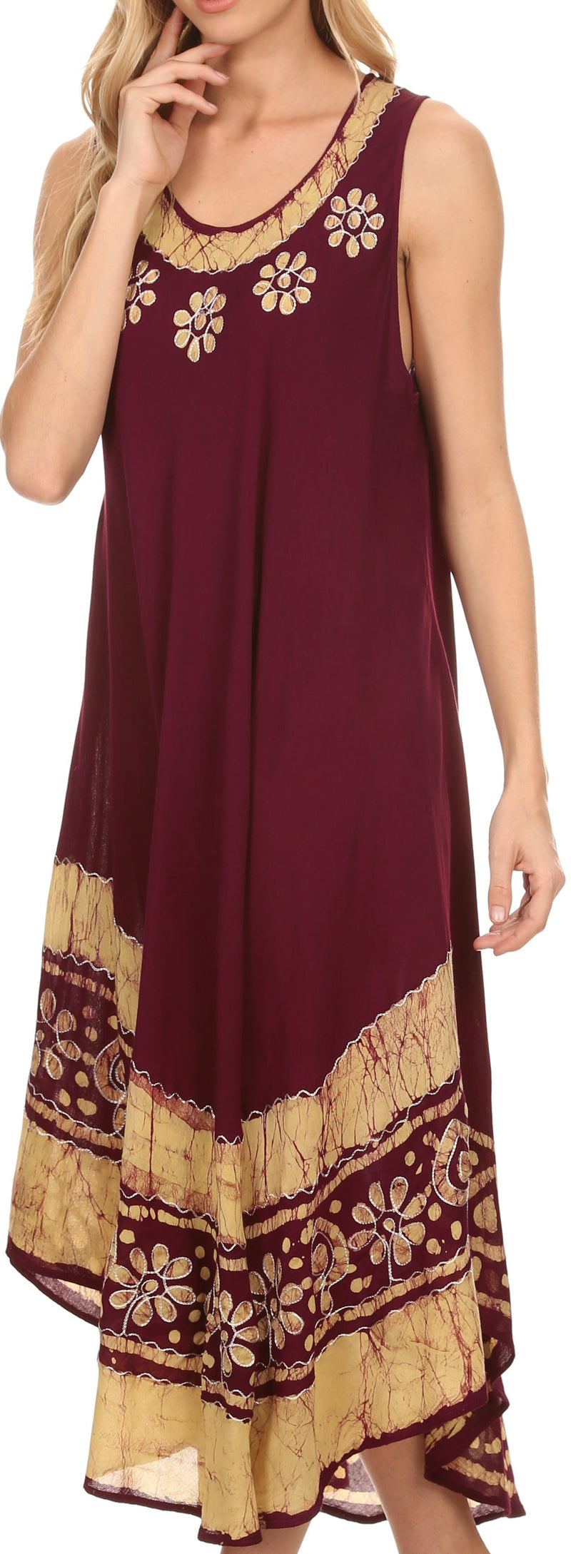 Sakkas Batik Flower Caftan Tank Dress / Cover Up