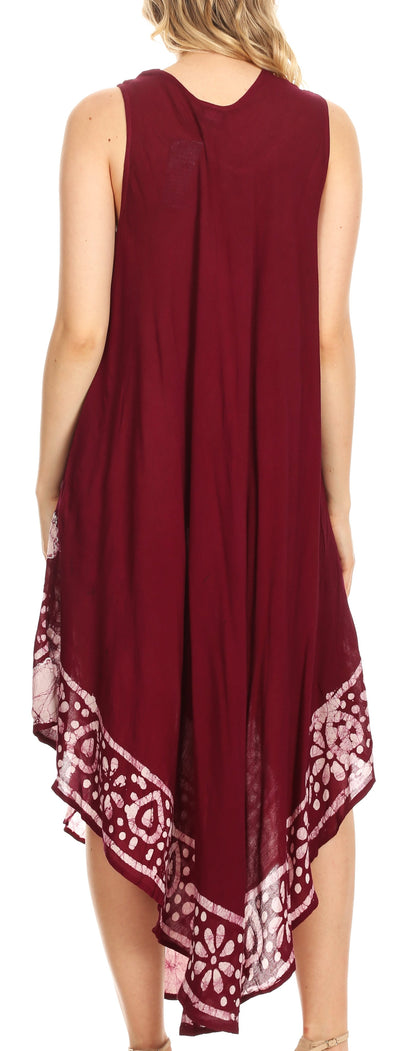 group-Chocolate (Sakkas Batik Flower Caftan Tank Dress / Cover Up)
