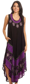 group-Eggplant (Sakkas Batik Flower Caftan Tank Dress / Cover Up)