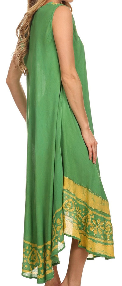 group-Green / Yellow (Sakkas Batik Flower Caftan Tank Dress / Cover Up)