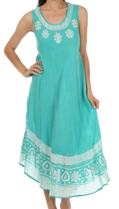 group-Mint (Sakkas Batik Flower Caftan Tank Dress / Cover Up)