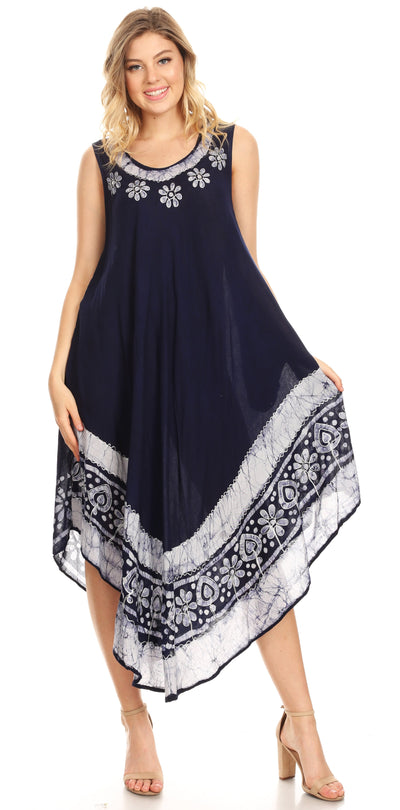 group-Navy (Sakkas Batik Flower Caftan Tank Dress / Cover Up)