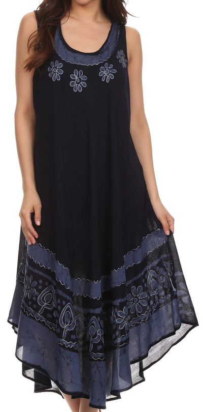 group-NavyBlue (Sakkas Batik Flower Caftan Tank Dress / Cover Up)