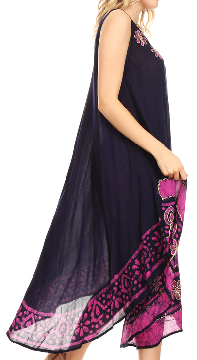 group-Navy / Pink (Sakkas Batik Flower Caftan Tank Dress / Cover Up)