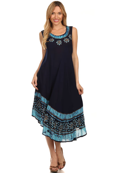 group-Navy / Turquoise (Sakkas Batik Flower Caftan Tank Dress / Cover Up)