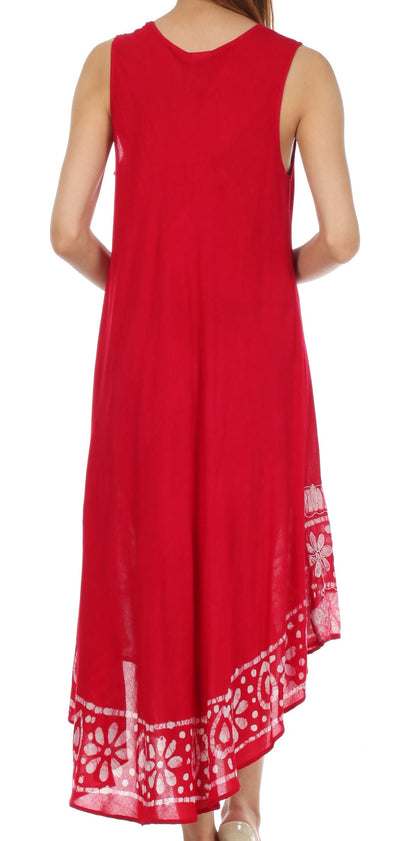 group-Raspberry (Sakkas Batik Flower Caftan Tank Dress / Cover Up)