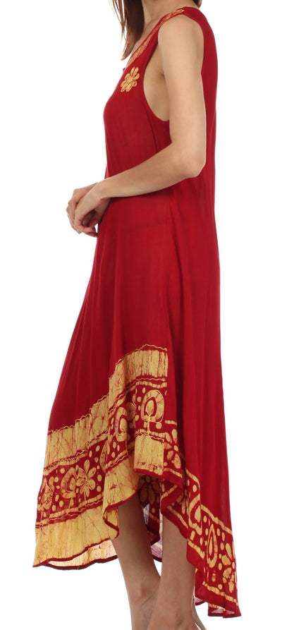 group-Red / Gold (Sakkas Batik Flower Caftan Tank Dress / Cover Up)