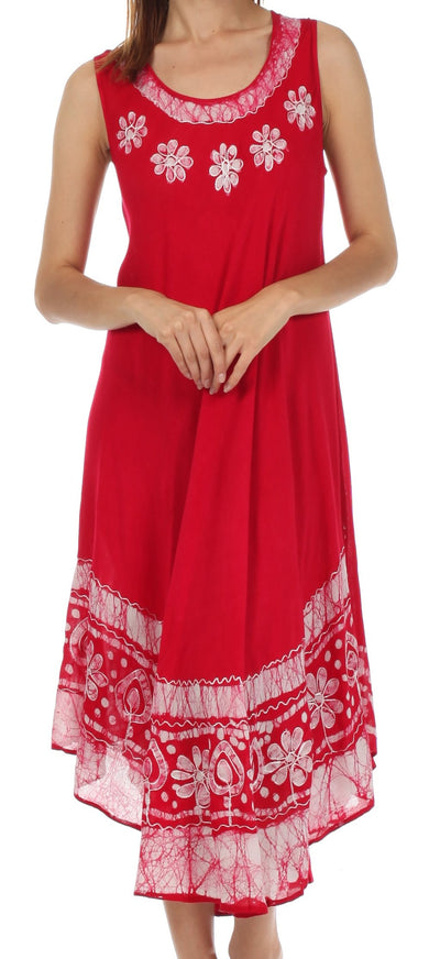 group-Red / White (Sakkas Batik Flower Caftan Tank Dress / Cover Up)