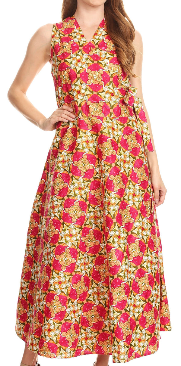 Sakkas Daliah Colorful Wax African Ankara Dutch Sleeveless Long Wrap Around Dress#color_Fuchsia/kaledoiscope
