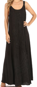 Sakkas Zuri Women's Tank Casual Maxi Stonewashed Long Boho Dress Loose Plain Basic#color_Black