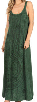 Sakkas Zuri Women's Tank Casual Maxi Stonewashed Long Boho Dress Loose Plain Basic#color_Green
