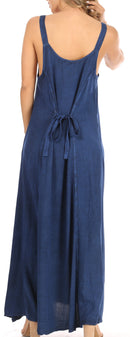 Sakkas Zuri Women's Tank Casual Maxi Stonewashed Long Boho Dress Loose Plain Basic
