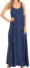 Sakkas Zuri Women's Tank Casual Maxi Stonewashed Long Boho Dress Loose Plain Basic#color_Navy