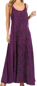Sakkas Zuri Women's Tank Casual Maxi Stonewashed Long Boho Dress Loose Plain Basic#color_Purple