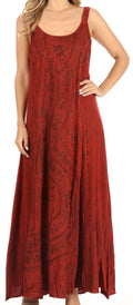 Sakkas Zuri Women's Tank Casual Maxi Stonewashed Long Boho Dress Loose Plain Basic#color_Red