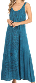 Sakkas Zuri Women's Tank Casual Maxi Stonewashed Long Boho Dress Loose Plain Basic#color_Turquoise