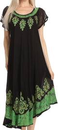 Sakkas Batik Hindi Cap Sleeve Caftan Dress / Cover Up#color_Black / Green