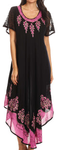 Sakkas Batik Hindi Cap Sleeve Caftan Dress / Cover Up#color_Black / Pink
