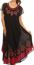 Sakkas Batik Hindi Cap Sleeve Caftan Dress / Cover Up#color_Black / Red