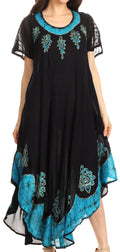 Sakkas Batik Hindi Cap Sleeve Caftan Dress / Cover Up#color_BlackTurquoise