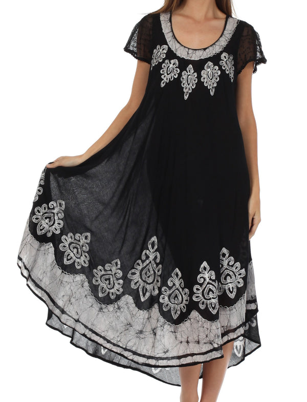 Sakkas Batik Hindi Cap Sleeve Caftan Dress / Cover Up#color_Black / White