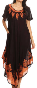 Sakkas Batik Hindi Cap Sleeve Caftan Dress / Cover Up#color_Brown / Rust