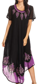 Sakkas Batik Hindi Cap Sleeve Caftan Dress / Cover Up#color_Eggplant